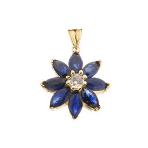 Genuine Sapphire and Diamond Daisy Pendant Necklace In Yellow Gold