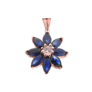 Genuine Sapphire and Diamond Daisy Pendant Necklace In Rose Gold