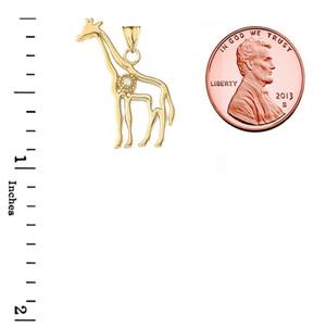Diamond Giraffe Pendant Necklace in Gold (Yellow/Rose/White)