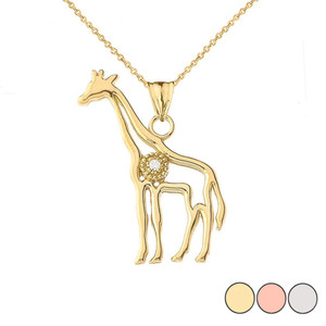 Diamond Giraffe Pendant Necklace in Gold (Yellow/Rose/White)