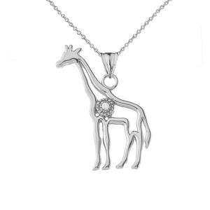 Diamond Giraffe Pendant Necklace in White Gold
