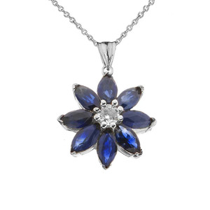 Genuine Sapphire and Diamond Daisy Pendant Necklace In White Gold