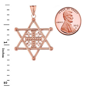 Star of David Jerusalem Cross Pendant Necklace in Gold (Yellow/Rose/White)