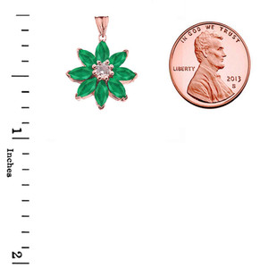 Emerald and Diamond Daisy Pendant Necklace In Rose Gold