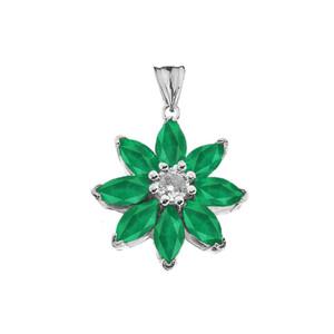 Emerald and Diamond Daisy Pendant Necklace In White Gold