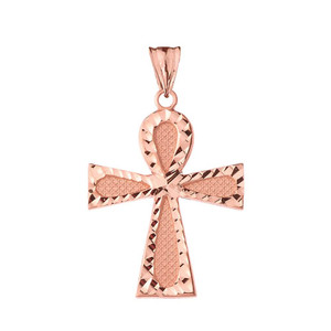 Sparkle Cut Ankh Cross Pendant Necklace in Gold (Yellow/Rose/White)