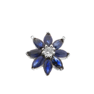 Genuine Sapphire and Diamond Daisy  Necklace In 14K  White Gold