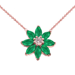 Emerald and Diamond Daisy  Necklace In 14K Rose Gold