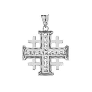 Diamond Jerusalem Cross Pendant Necklace in Gold Yellow/Rose/White