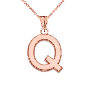 Personalized Rose Gold  Milgrain  Initial  Pendant Necklace