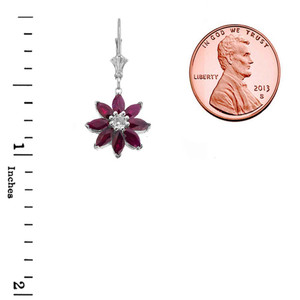 Genuine Ruby  and Diamond Daisy Leverback Earrings In 14K White Gold