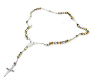 Sterling Silver Tri-Color Rosary Beaded Necklace 26 Inch