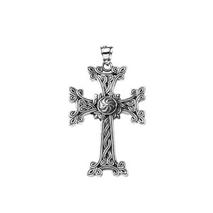 "Oxidized Sterling Silver Eternity ""Khachkar"" Armenian Cross Pendant Necklace (Large)"