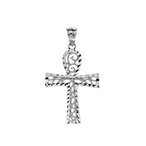 Sparkle Cut Filigree Ankh Cross Pendant Necklace in Gold (Yellow/Rose/White)