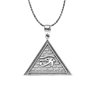 Oxidized Egyptian Pyramid with Eye of Horus Pendant Necklace in Sterling Silver