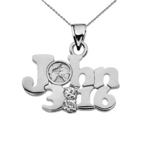 John 3:16 Cubic Zirconia Pendant Necklace in Sterling Silver