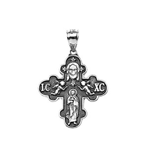 Russian Orthodox ICXC Cross (Save Us) Pendant Necklace in Oxidized Sterling Silver
