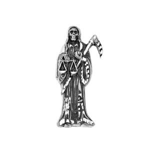 Oxidized Santa Muerte Grim Reaper Pendant Necklace
