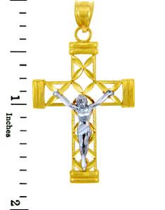 Two Tone Gold Cross Pendant