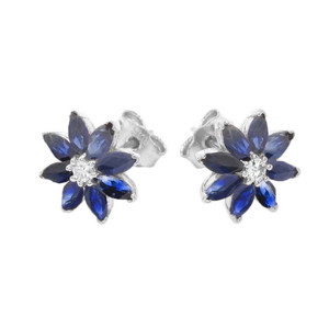 Genuine Sapphire and Diamond Daisy Stud Earrings In 14K Gold  (Yellow/White)