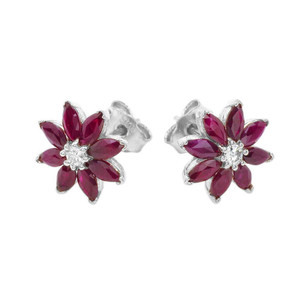 Genuine Ruby and Diamond Daisy Stud Earrings In 14K Gold (Yellow/White)