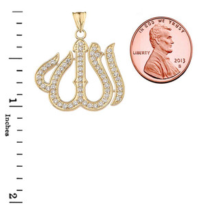 Cubic Zirconia Allah Pendant Necklace in Gold Yellow/Rose/White
