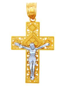 Two Tone Gold Crucifix Pendant - The Crosses Crucifix