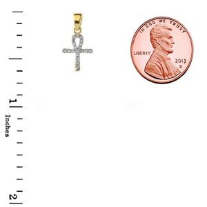 Mini Diamond Ankh Cross Pendant Necklace in Gold Yellow/Rose/White