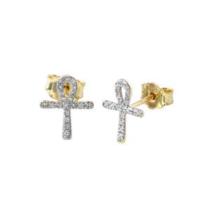 Mini Diamond Ankh Cross Pendant Necklace Set in Yellow Gold