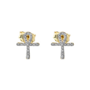 Mini Diamond Ankh Cross Pendant Necklace Set in Yellow Gold