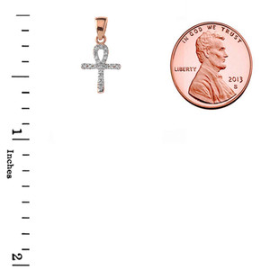 Mini Diamond Ankh Cross Pendant Necklace Set in 10K Rose Gold