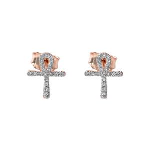 Mini Diamond Ankh Cross Pendant Necklace Set in 10K Rose Gold