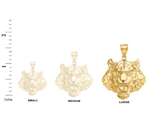 Roaring Tiger Pendant Necklace in Gold (Large) 1.61 in. (Yellow/Rose/White)