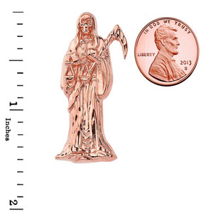 Santa Muerte Grim Reaper Pendant Necklace In Rose Gold