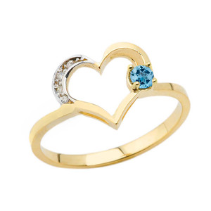 December Birthstone Blue Topaz and Diamond Heart Ring In Yellow Gold
