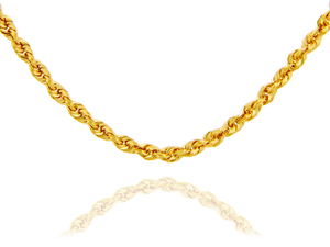 Gold Chains: Rope Solid Gold Chain 4mm