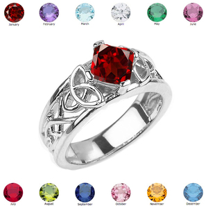 Sterling Silver Celtic Knot Princess Cut Personalized Birthstone Engagement Ring