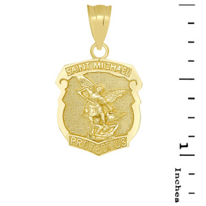 Saint Michael Protect Us Shield Pendant Necklace in Yellow Gold