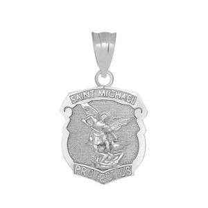 Saint Michael Protect Us Shield Pendant Necklace in White Gold