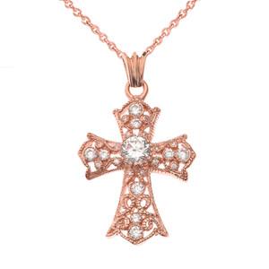 CZ Filigree Cross Pendant Necklace in Rose Gold