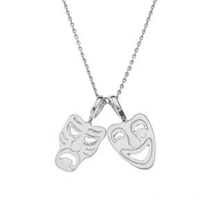 Comedy & Tragedy Masks (Sock & Buskin) Pendant Necklace in Sterling Silver