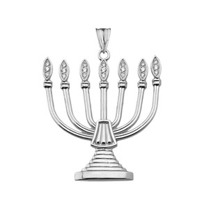 Diamond Holy Temple Menorah Pendant Necklace in Gold Yellow/Rose/White