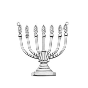 Diamond Holy Temple Menorah Necklace in Sterling Silver