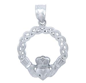 Sterling Silver Celtic Claddagh Pendant