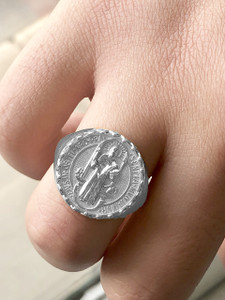 Men's Saint Benedict Ring in Sterling Silver