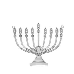 Diamond Hanukkah Menorah Necklace in Sterling Silver