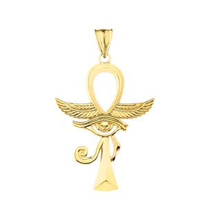 Ankh With Eye of Horus Pendant Necklace in (Yellow/Rose/White)Gold