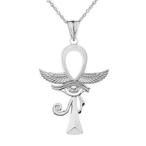 Ankh With Eye of Horus Pendant Necklace in White Gold