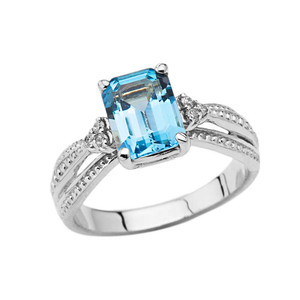Diamond and Blue Topaz Emerald Cut Engagement Ring In White Gold