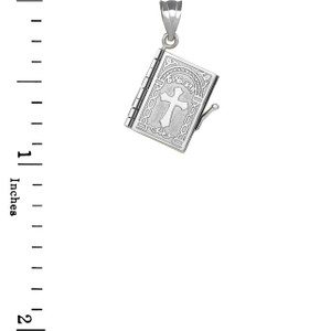 3D Moveable Russian Bible Pendant Necklace in White Gold